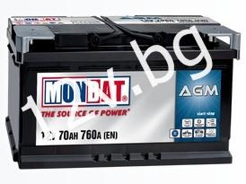 Акумулатор MONBAT AGM START-STOP 70 Ah R+